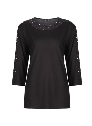 Butik Triko 3795 İnci Detaylı Sıfır Yaka Penye Bluz Siyah